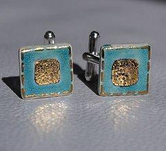 Šperky - Keramické manžetové gombíky so zlatom - 8099965_