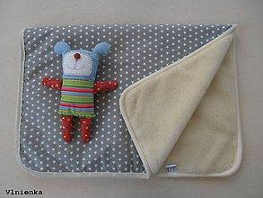 Úžitkový textil - Ovčie rúno deka / prikrývka 100% MERINO 100 x 140 cm Hviezdička sivá/ šedá - 8097309_