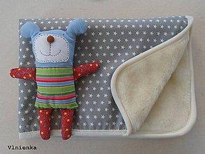 Textil - Ovčie rúno deka 100% MERINO TOP s kašmírom Hviezdička sivá - 8097493_