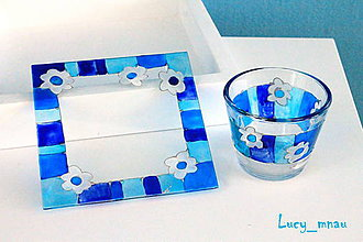 Svietidlá a sviečky - Svietnik a podnos: modrý pásikový s kvetinkami :) - 8099577_