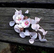 Ozdoby do vlasov - Ružová svadobná kvetinová ozdoba do vlasov (na sponke) - 8099437_