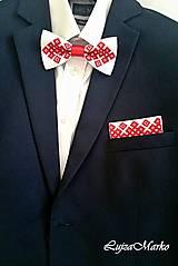 """Doplnky - Vyšívaná vreckovka """"Chanel červený na ľudovo"""" - 8098689_"""