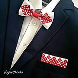 """Doplnky - Vyšívaná vreckovka """"Chanel červený na ľudovo"""" - 8098691_"""
