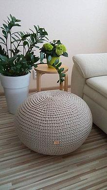Úžitkový textil - Háčkovaný puf - podsedák 100% bavlna - 8099830_
