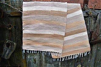 Úžitkový textil - Tkané koberce hnedé, pásikavé - 8099544_
