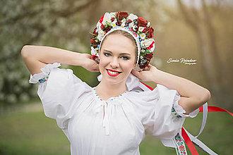 Ozdoby do vlasov - Ľudová kvetinová parta na štýl čepca - 8103217_