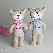 Hračky - macko s menom na ružovom a modrom srdiečku - 8100501_