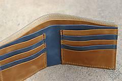 Tašky - Kožená peňaženka VII. modro-svetlohnedá - 8101407_