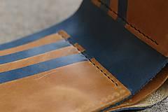 Tašky - Kožená peňaženka VII. modro-svetlohnedá - 8101408_
