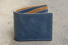 Tašky - Kožená peňaženka VII. modro-svetlohnedá - 8101409_