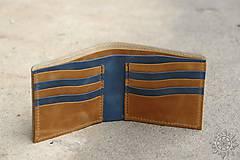 Tašky - Kožená peňaženka VII. modro-svetlohnedá - 8101410_