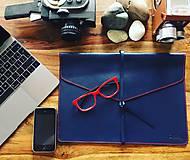- Kožený obal na MacBook Air 13 - modrý - 8102662_