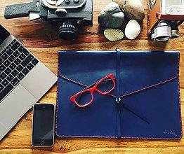 Na notebook - Kožený obal na MacBook Air 13 - modrý - 8102662_