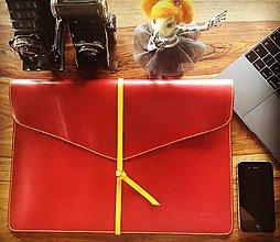 Na notebook - Kožený obal na MacBook Air 13, červeno-žltý - 8102679_