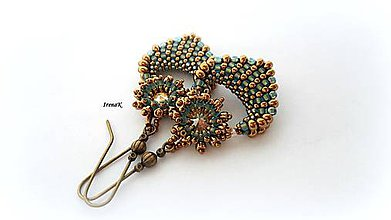 Náušnice - Pod hladinou...mini (bronz-aqua) - 8101740_