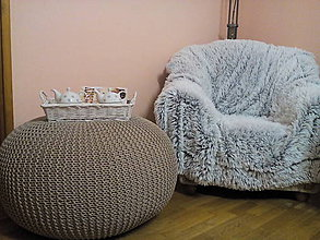Úžitkový textil - Hnedý puf- 100% bavlna - 8102890_