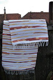 Úžitkový textil - Tkaný žlto-oranžovo-škoricový koberec - 8102676_