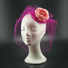 Ozdoby do vlasov - Peony svatební klobouk s francouzským závojem - 8105020_