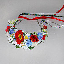 Ozdoby do vlasov - Folklórna parta s lúčnymi kvetmi - 8103548_