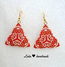 Náušnice - Červeno zlatá elegancia - 8104202_