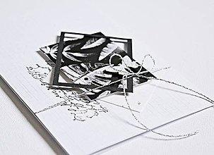 Papiernictvo - Pozdrav štýlový - Monstera/čierna - 8105820_