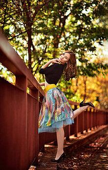Sukne - Hodvábna ručne maľovaná sukňa 4 - abstrakcia - 8103711_