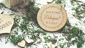 Drevená magnetka pre svadobčanov, 6 cm
