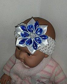 Detské doplnky - Biela kráľovská modrá detská elastická čelenka - 8105913_