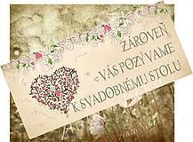 Papiernictvo - Pozvanie ku svadobnému stolu - srdiečko - 8106516_