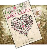 Papiernictvo - Papierová samolepka (etiketa) na svadobnú fľašu - srdiečko - 8106550_