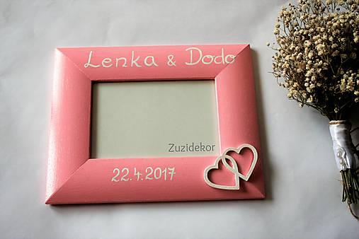 Svadobný fotorámik ružový perleťový