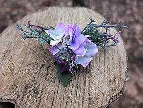Ozdoby do vlasov - sponka s fialovými kvítky - 8104352_