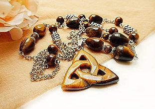 Sady šperkov - Sada šperkov z tygrieho oka - dlhý náhrdelník s príveskom a náušnice - 8104610_