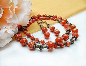 Sady šperkov - Klasický náhrdeľník a náušnice. Regalit oranžový. - 8104987_