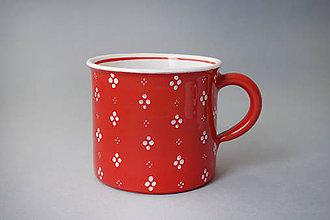 Nádoby - Kafáč 10 cm 4puntík - červený, cca 0,5 l - 8106636_