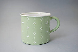 Nádoby - Kafáč 10 cm 4puntík - světle zelený, cca 0,5 l - 8106643_