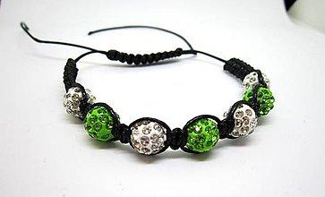 Náramky - Shamballa náramok čierno-zelený - 8106441_