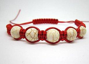 Náramky - Shamballa náramok červený s tyrkenitom - 8106463_