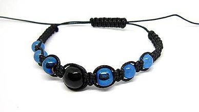 Náramky - Shamballa náramok čierno-modrý - 8106493_