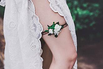 Bielizeň/Plavky - Greenery podväzok pre nevestu