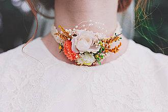 Náhrdelníky - Choker kvetinový náhrdelník