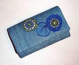 Peňaženky - Peňaženka - Riflová - Kvet - 17 - 8103379_