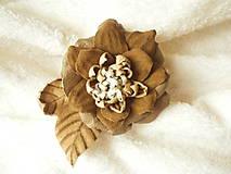 - Brošňa kožená, jesenný kvet - 8103645_