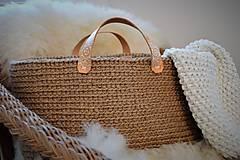 Košíky - Špagát,koža, drevo, ornament = jutová taška - 8105091_