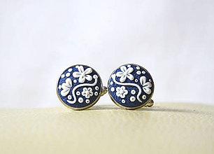 Šperky - Folk manžetové gombíky - modré okrúhle - 8107700_