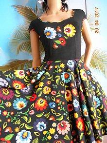 Šaty - Floral FOLK - čierne vzorované, ako maľované... - 8107462_