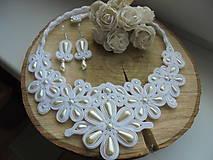 Sady šperkov - Soutache set Elizabeth - biely s ivory - 8108907_