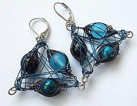 Náušnice - Korálky v modrom objatí - 8107469_