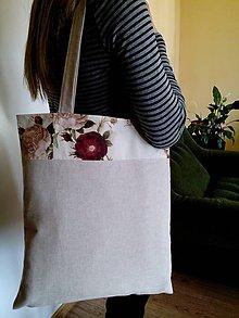 Nákupné tašky - Nákupná taška režná s motívom ruží - 8108636_