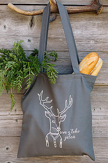 Nákupné tašky - som z toho jeleň - nákupná taška šedá - 8109287_